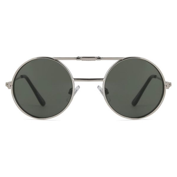 Spitfire Lennon Flip Silver/Clear/Green ($150) ❤ liked on Polyvore featuring accessories, eyewear, sunglasses, metal frame glasses, flip sunglasses, wide glasses, green glasses and lens glasses
