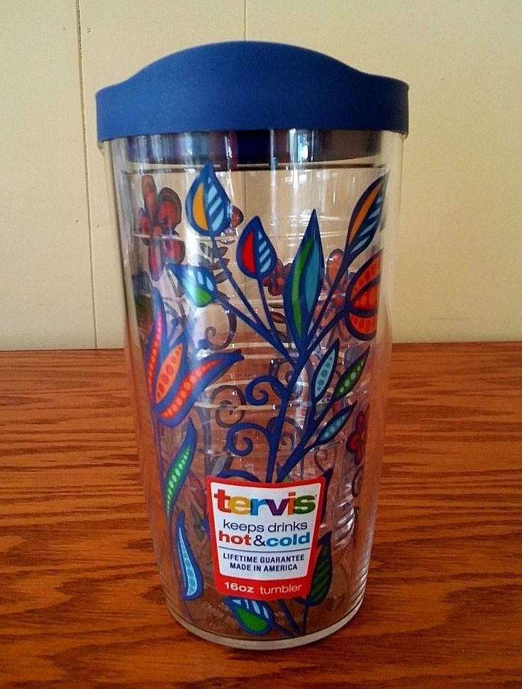 Tervis Molly Z Flower Wrap Tumbler Blue Lid 16 oz Bohemian Travel Hot Cold New  #Tervis