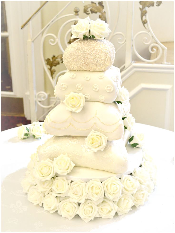 Elegant Roses and Pearl Pillow Cushion Wedding Cake