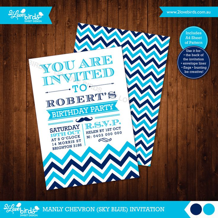 MANLY CHEVRON BLUE PRINTABLE INVITATION Personlised with your text! / DIY Print / No shipping! / A6 size / A4 sheet of pattern included #2loveBirds #printable #invitation #birthday #stationery #chevron #manly
