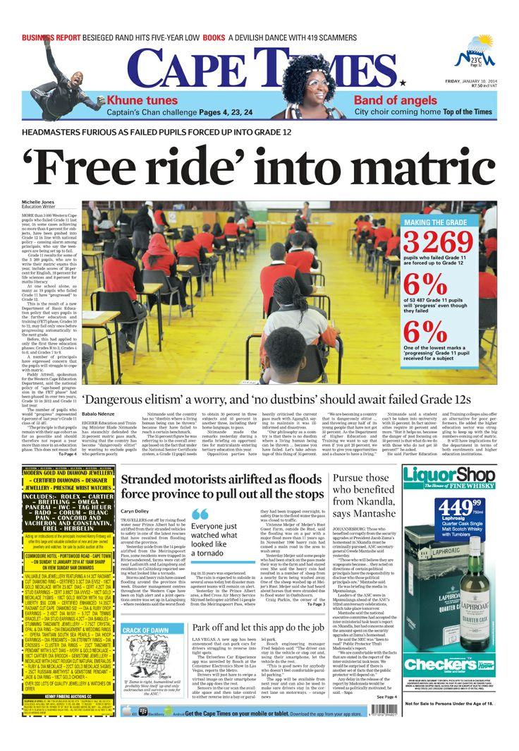 News making headlines: 'Free ride' into matric