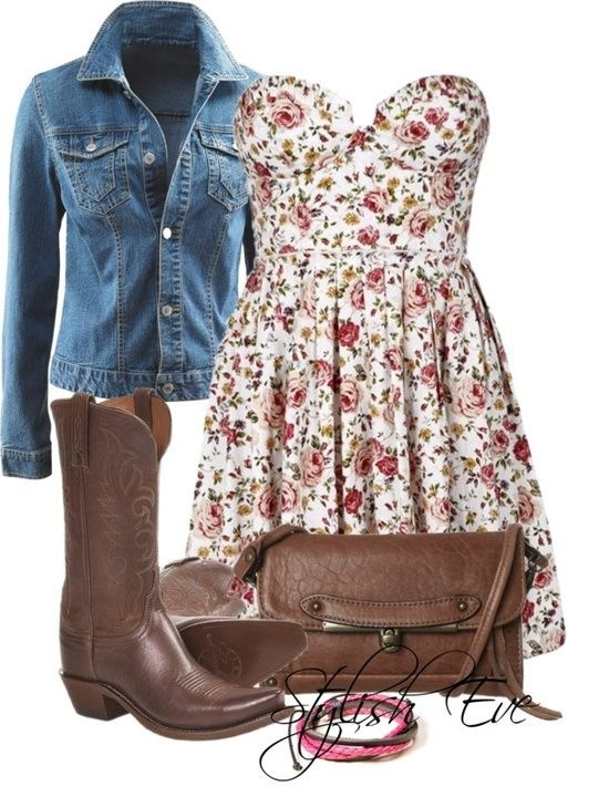 This is an example of emphasis through whole over parts. The Whole style is the emphasis but it could be shown through emphasis on one element: the jean jacket.  Cute dress with cowboy boots :3 (Stylish Eve)