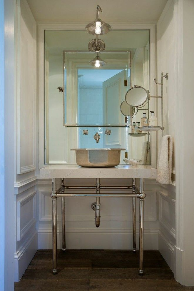 Photo Image large wall mirrors in Powder Room Mediterranean with wall mounted faucet makeup mirror