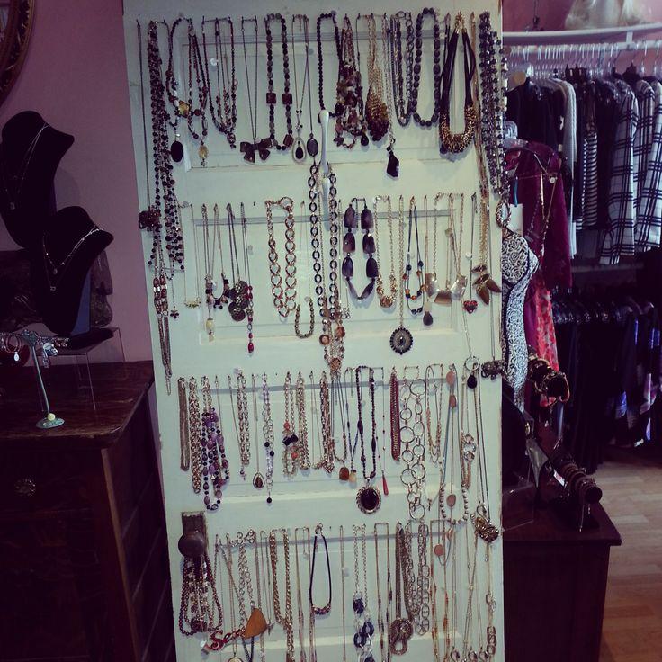 vintage door used to display necklaces s