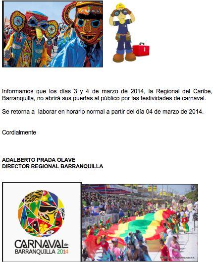 Regional Mundial Caribe, Barranquilla Los días 3 y 4 de marzo de 2014, no abrirá sus puertas por el carnaval. Se retorna a laborar en horario normal a partir del día 04 de marzo de 2014.  Productos de Calidad con Reconocimiento Mundial  sigenos en nuestras redes sociales  Twitter.com/mundialdt linkedin.com/company/mundial-de-tornillos facebook.com/mundialdetornillos