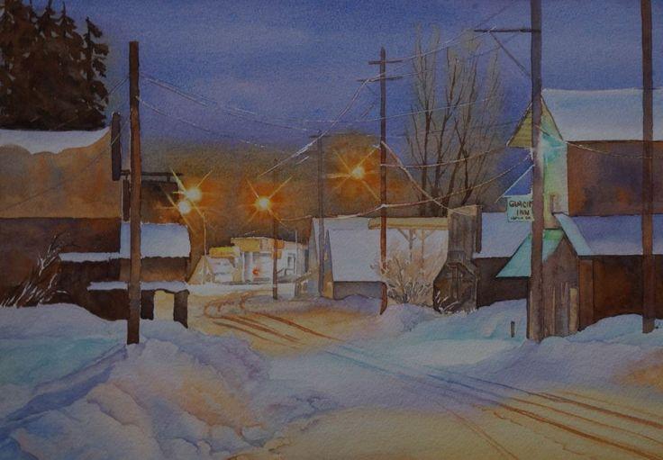 Evening winter scene of Hyder, Alaska