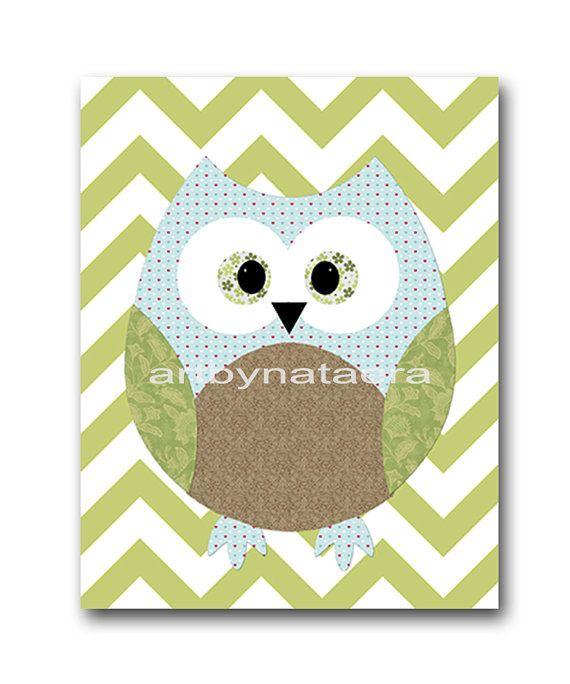 Owl Decor Owl Nursery Baby Boy Nursery Art Nursery by artbynataera, $14.00