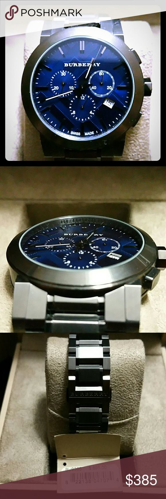 BURBERRY MENS WATCH  BU9365 GUNMETAL GREY WITH A METALIC BLUE FACE 42mm CHRONOGRAPH CASE A WORN A HAND FULL OF TIME LIKE NEW CONDITION VERY UNOTICABLE SCARTCHES WITH EXTRA LINKS THAT ARE ATTACHED TO THE BRACELET. COMES IN ORIGINAL BOX WITH MANUAL AS SEEN IN PICTURES. PRICE IS NEGOTIABLE Burberry Accessories Watches