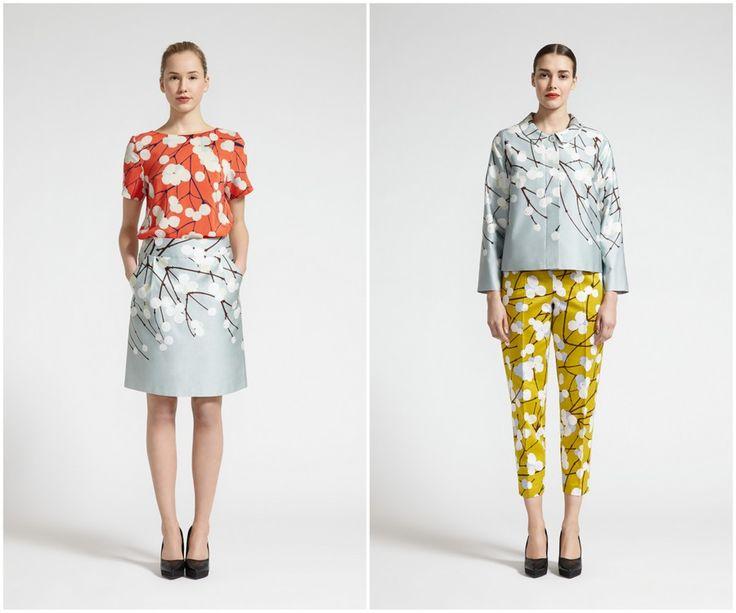 Finnish fashion brand Marimekko AW13 collection: Hyy shirt, Siljo skirt, Kiituma jacket & Uppuma trousers. Click to see more: www.fashionflashfinland.com !