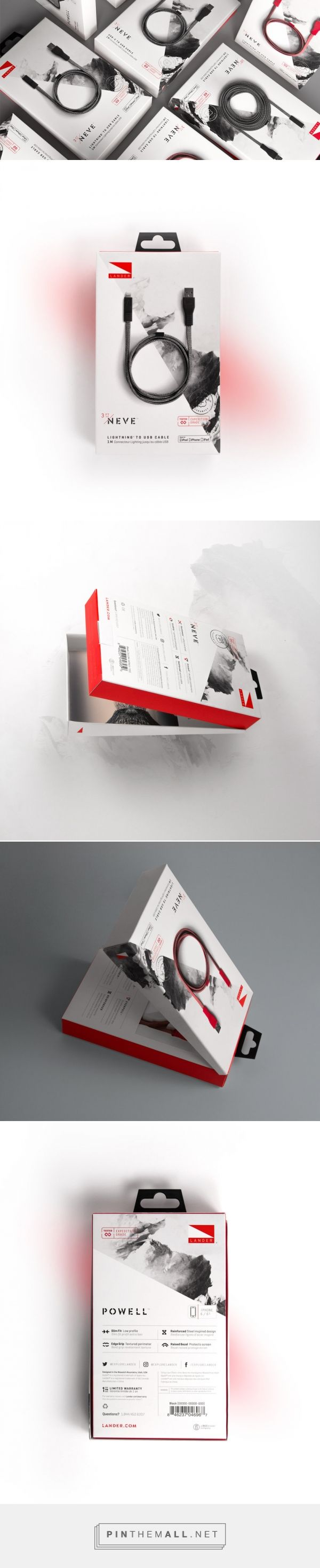 Love the B/W look with a hint of red. Also like how the photography really looks like product is sitting on top of the box. Landor Cable Packaging — The Dieline - Branding & Packaging Design - created via https://pinthemall.net