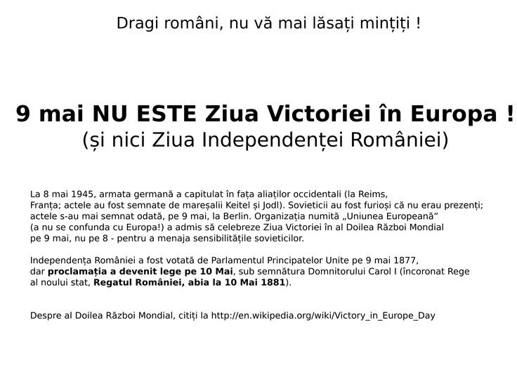 9 mai NU ESTE Ziua Victoriei în Europa !