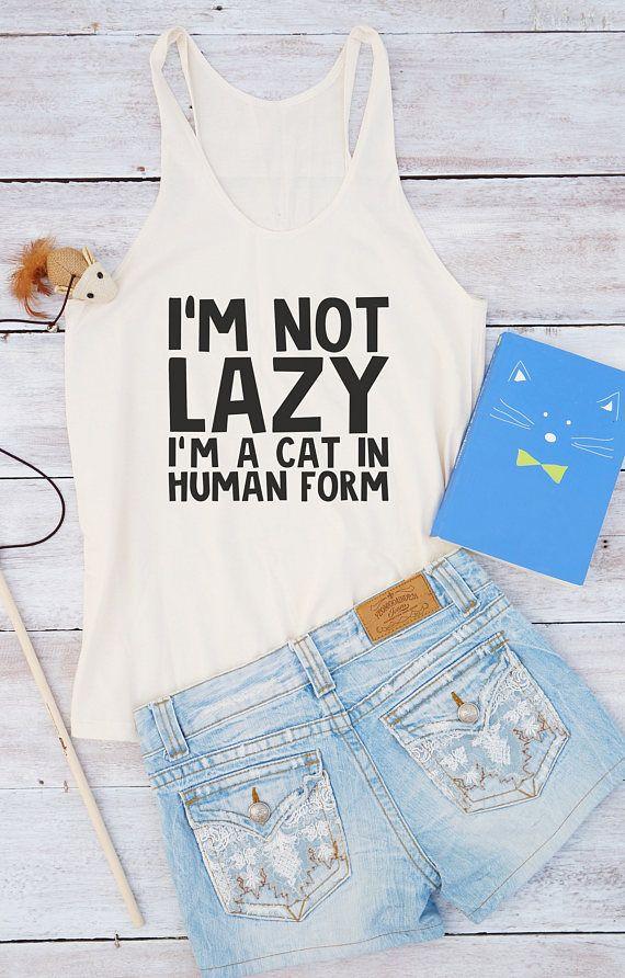 Ik ben niet lui shirt, ik ben een kat shirt offerte tank grappige tank zomer shirt vrouwen mode grappige geschenken huidige stijl grafische top leuke vrouwen shirt