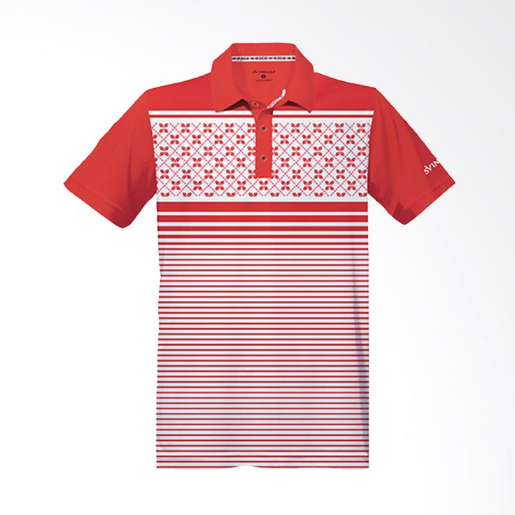Svingolf Kawung Stripes Polo Flag Red Baju Golf