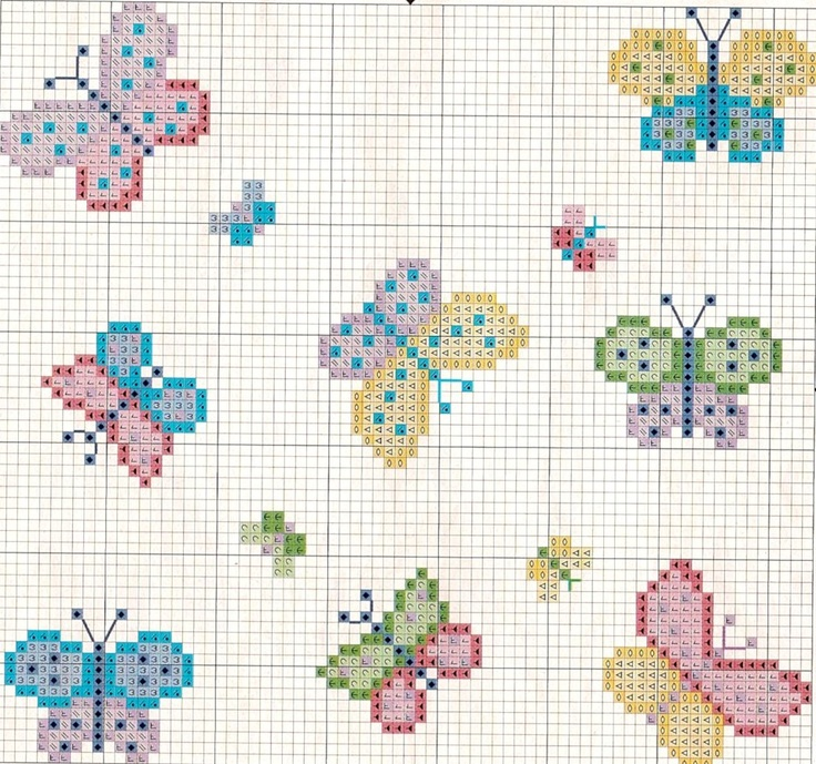 Many Butterflies - Cross Stitch