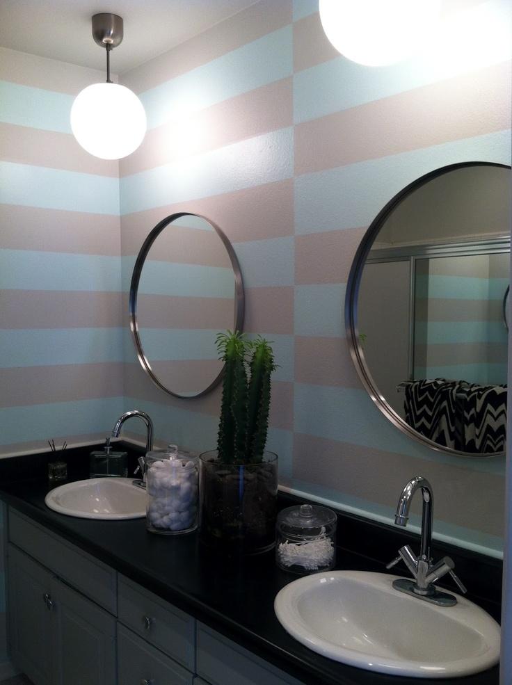 Striped bathroom walls