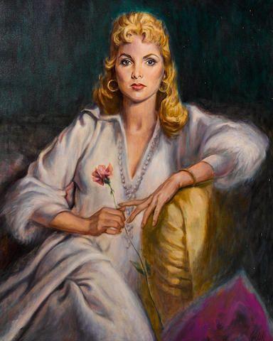 "A Jaroslav Gebr oil portrait of Janet Leigh for the Columbo episode ""Forgotten Lady"""