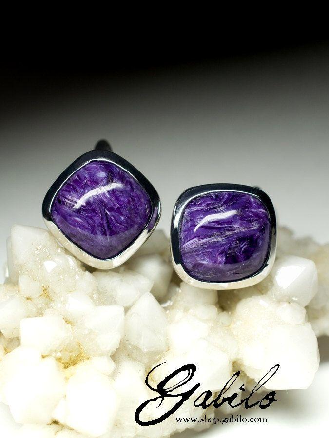 Charoite Silver Earrings art 9773 | Natural Russian Organic Charoite Gemstone Sterling Silver Earrings Fine Jewelry by Gabilo on Etsy