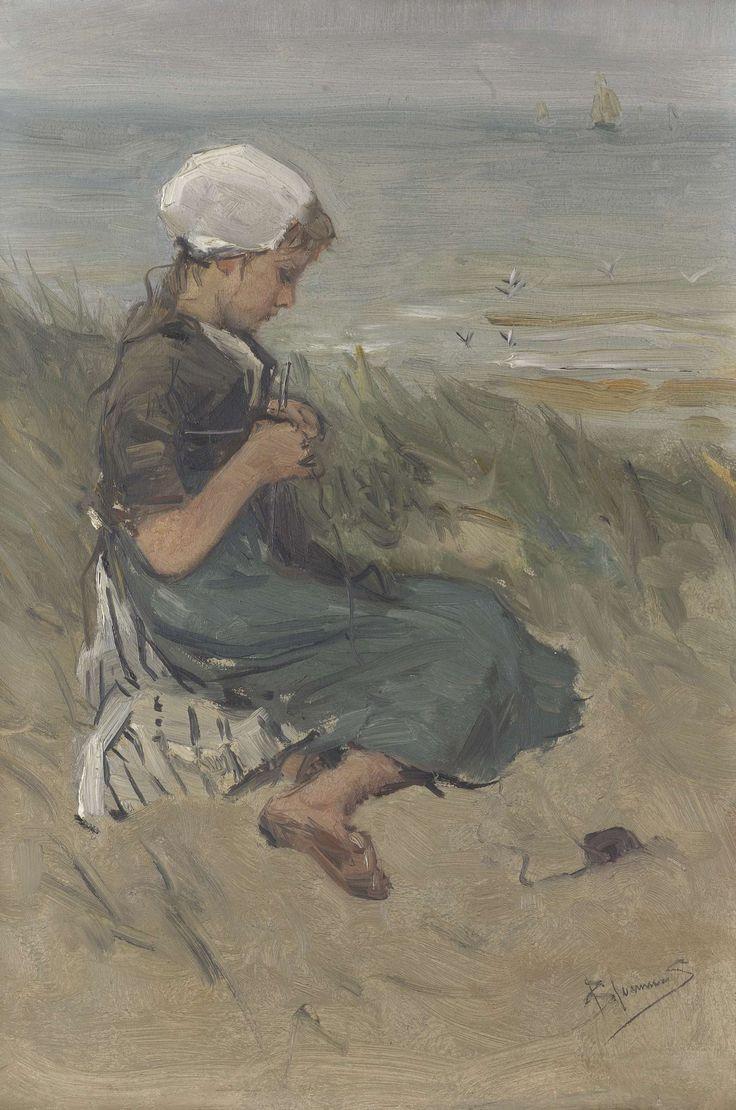 Girl Knitting in the Dunes, Bernardus Johannes Blommers, c. 1870 - c. 1900