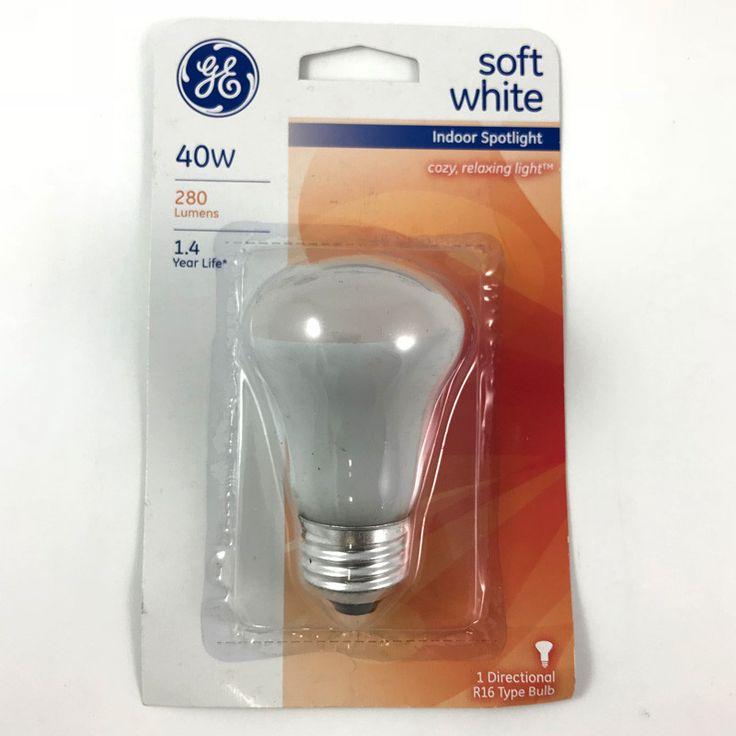 GE 40W 120V R16 E26 Base Soft White Incandescent Spotlight ...