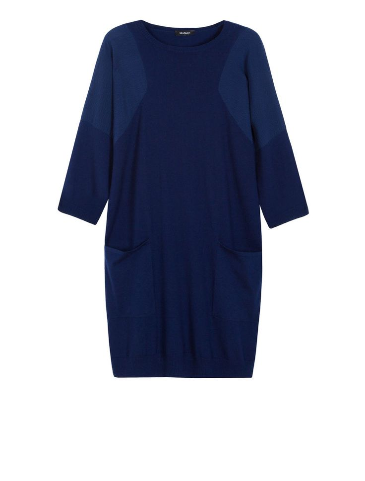 Sheath dress in a blend of materials, navy blue - COMPUNTO MAX&Co.