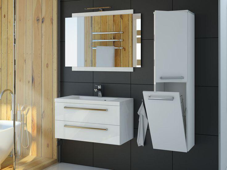 Lakierowane meble łazienkowe sprawdzą się w najwilgotniejszych pomieszczeniach. Łatwo utrzymać je w czystości a dodatkowo słupek zapewnia miejsce na przechowywanie.
