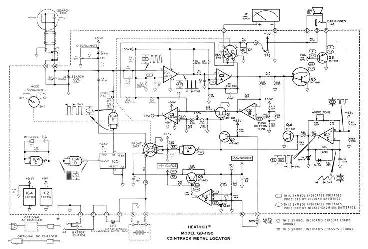 Schematic diagram of the Heathkit Cointrack GD-1190 metal detector