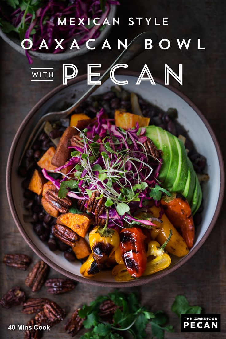 This vegan and grain-free Mexican Style Oaxacan Bowl is chock full of flavor and good-for-you ingredients. Toasted chipotle pecans add a flavorful and nutritious crunch to a bowl full of chipotle sweet potatoes, roasted sweet peppers, seasoned black beans and cabbage slaw.