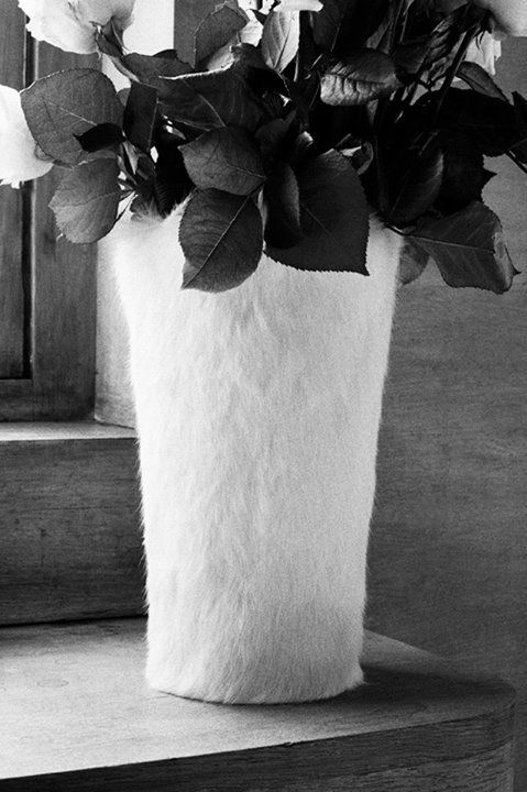 RABBIT FUR VASE A typical wide or narrow vase is covered in cream or grey rabbit fur.   Limited edition item for Japan. Available from  July 31, 2013 at L'Espace Maison Martin Margiela at Isetan Shinjuku, Tokyo.