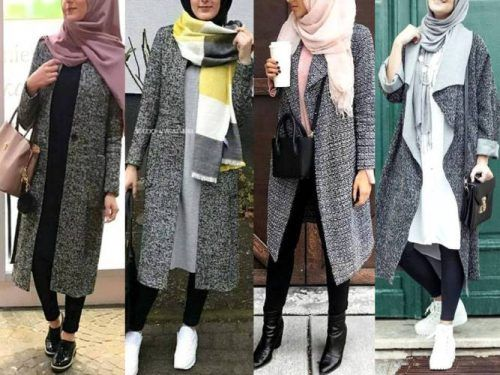Winter colorful coats with hijab – grey coats with hijab- Just Trendy Girls