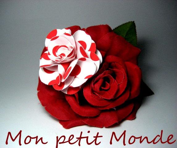 Flor para traje flamenco en Blanco y Rojo