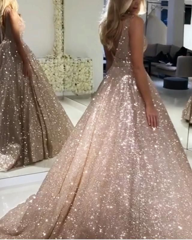 45001ccea8e37 Shop 2019 Glitter Silver or Rose Gold Quinceanera Dresses,this ball gowns  featuring v-