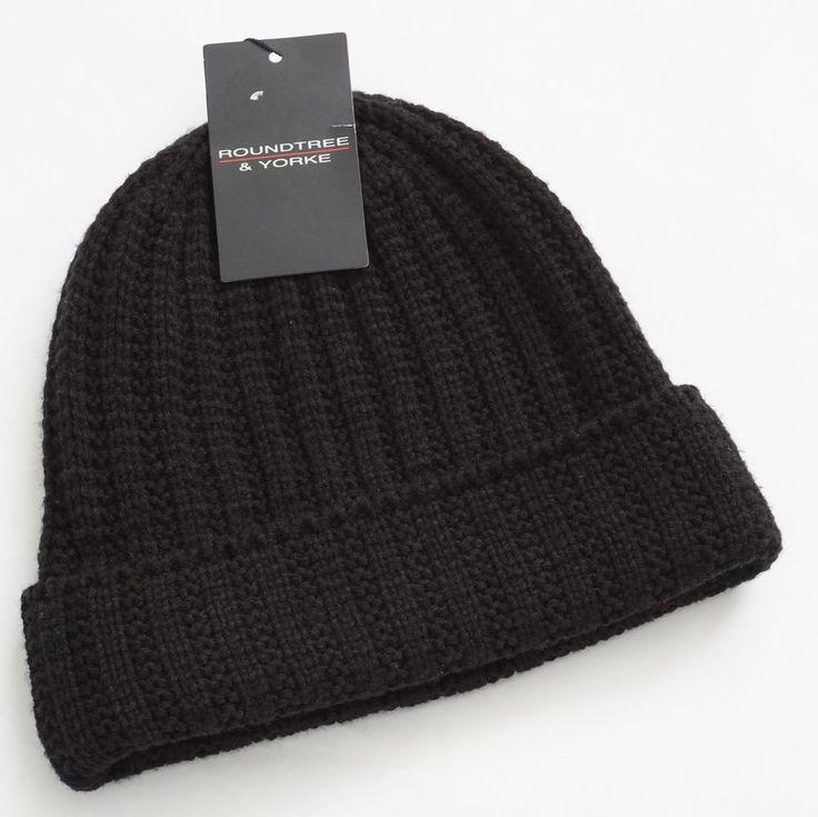 Roundtree & Yorke Men Black Cable Knit Winter Beanie Hat One Size #RoundtreeYorke #Beanie