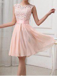 Sexy Round Collar Sleeveless Spliced Hollow Out Club Dress For Women (LIGHT PINK,2XL) | Sammydress.com Mobile