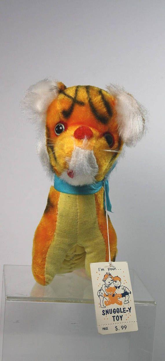Vintage Stuffed Tiger Doll With Original Tag Snuggley