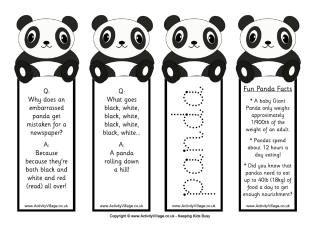 Panda party ideas, book marks, games