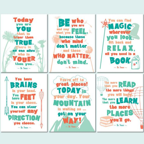 Dr Seuss printable quote art set of 6 prints in shades of teal, coral and mint. Instant, digital download. PLEASE NOTE: Available for digital
