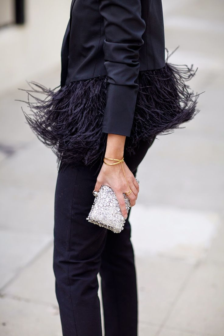 feather jacket, gold jewelry & embellished clutch #style #fashion #holiday…