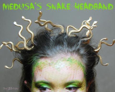 diy halloween medusa snake headband tutorial - Medusa Halloween Costume Kids