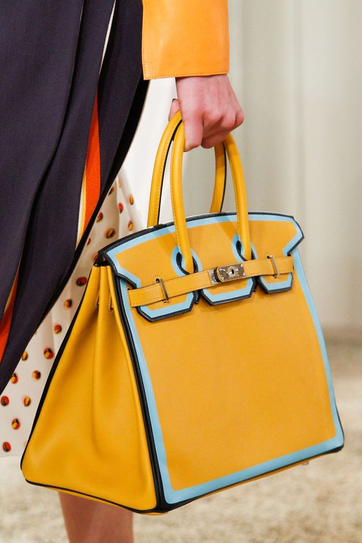 Hermes - Resort 2018. Yellow, black & blue Birkin.