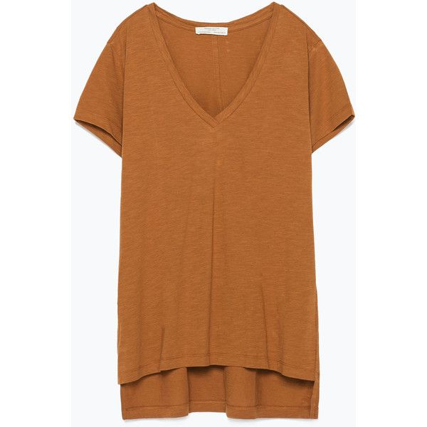 Zara V-Neck Striped T-Shirt ($9.90) ❤ liked on Polyvore featuring tops, t-shirts, terracotta, v neck t shirts, v neck tee, brown t shirt, v-neck tee and brown top