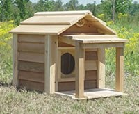 Outside Cat House - 17 Inch Cedar Cat House with Porch & Deck Size 17 INCH CEDAR W PORCH & DECK NO INSULATION - by Blythe Woodworks - PRICE: $280.00  - #outdoorcathouse #outsidecathouse #catoutsidehouse #cat #outdoor #outside #house http://www.catbedandtoy.com/outdoorcathouse