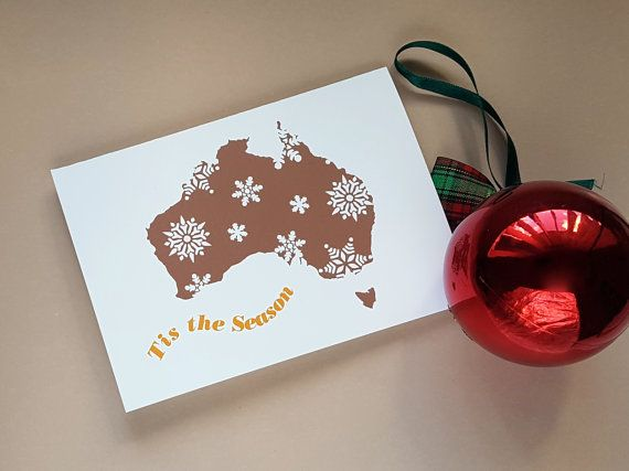 Australian Scandinavian Christmas Cards with envelopes (10 pack), Kangaroo, Sydney Harbour Bridge Map of Australia Emblem Christmas Card