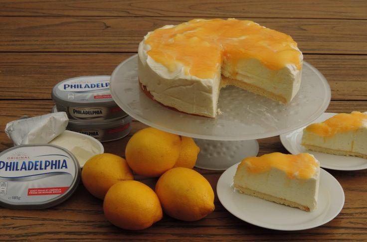 Lemoncurd 'niet-in-de-oven' cheesecake met Philadelphia Natural Een cheesecake…