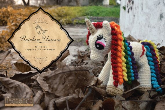 "Rainbow Unicorn amigurumi crochet toy, great for birthday gift or baby shower. Inspired from ""My little Pony - Friendship is magic"" characters. Created by ""Hedgehog - Amigurumi & Crafts""."