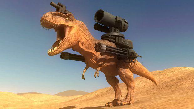 Conheça Beast Battle Simulator um jogo onde um Tiranossauro armado de Metralhadoras pode enfrentar um Urso com um Lança Chamas