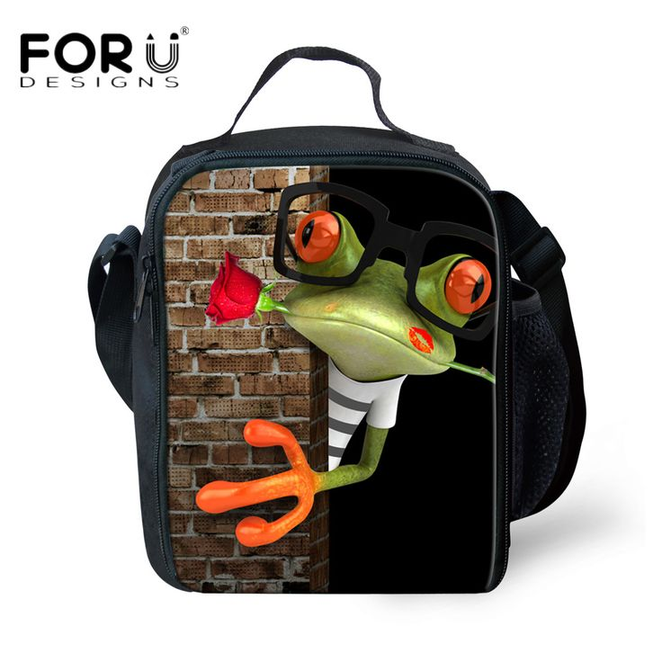 FORUDESIGNS Novelty 3D Animal Frog Printed Boy Lunch Bag Picnic Thermal Lunch Bags for Kids Children Food Insulated Lunch Bag