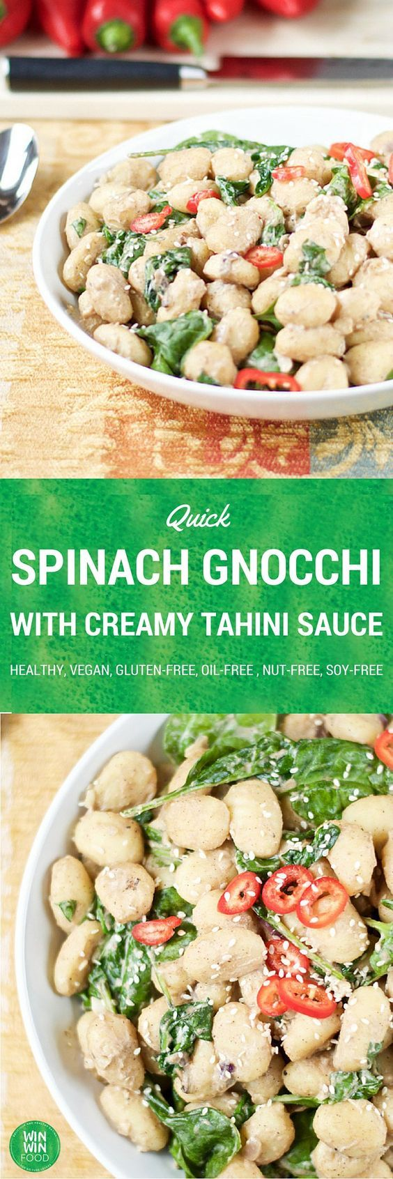 Quick Spinach Gnocchi with a Creamy Tahini Sauce |WIN-WINFOOD.com #healthy #vegan #oilfree with a #glutenfree option