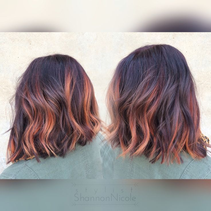 Pumpkin spice balayage hair color