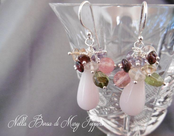 Orecchini a grappolo con quarzi rosa peridoto granato ametista quarzo citrino argento 925, orecchini da sera, orecchini colorati di NellaBorsadiMaryPopp su Etsy