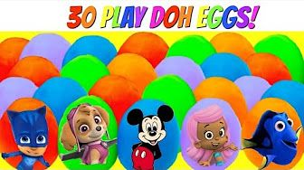 Best Learning Colors Video for Children with 15 Paw Patrol Play Doh Dough Eggs with Toys! - YouTube